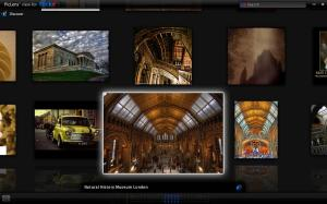 Screenshot of using PicLens to browse the results of a Flickr search for